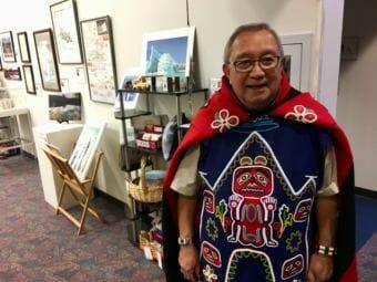 Jim Thomas, Khatsati, Shaayegun in his Tlingit regalia at the Voices of Our Ancestors language summit in Nov. 2018. (Photo by Zoe Grueskin/KTOO)