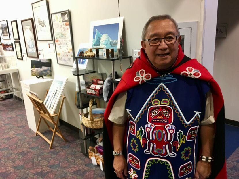 Jim Thomas in his Tlingit regalia at the Voices of Our Ancestors language summit in Nov. 2018. (Photo by Zoe Grueskin/KTOO)