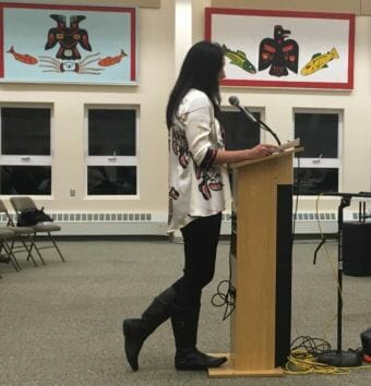 Melissa Johnson from the Ketchikan Indian Community Tribal Council talks to the Ketchikan School Board Wednesday at the Saxman Community Center.