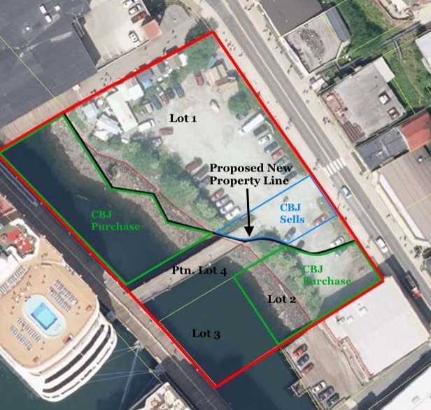This visual concept of the Archipelago Lot shows proposed new subdivision line and properties to be sold and purchased by Morris Communications and CBJ. (Image courtesy of the City and Borough of Juneau)