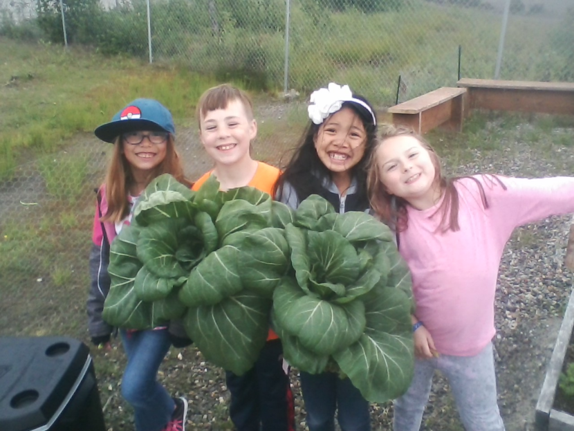 A few of the student-gardeners at Riverbend Elementary School show off the bok choy they grew summer 2018. (Photo courtesy Joel Bos)