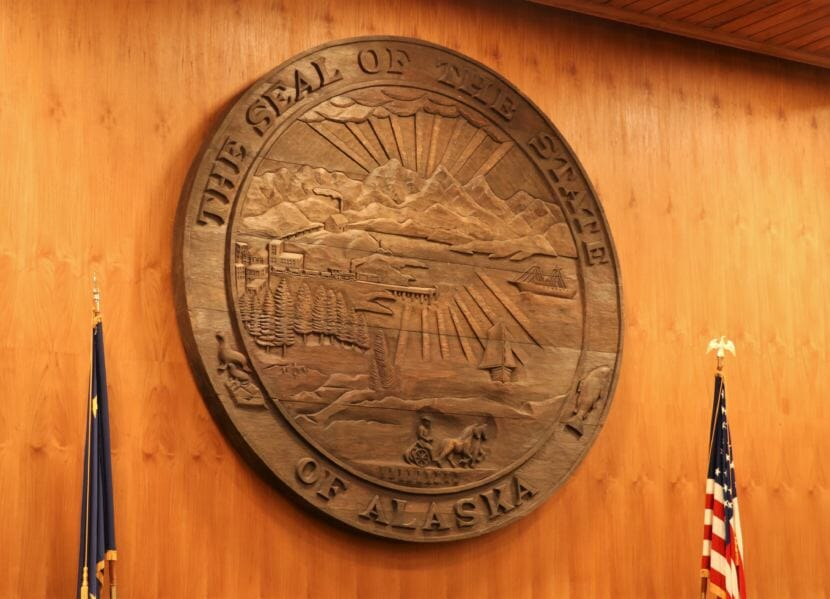This seal of the state of Alaska, pictured here on Jan. 4, 2019, hangs on the wall behind the dais where the Alaska Supreme Court hears cases in the Boney Courthouse in Anchorage.