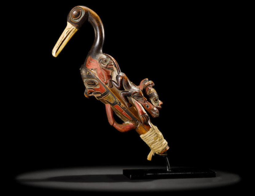 A rattle attributed to Tlingit woodcarving artist Kadjisdu.axch, c. 1770-1790.