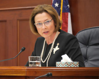 Senate President Cathy Giessel, R-Anchorage, presides during a Senate floor session in Juneau on Feb. 8, 2019.