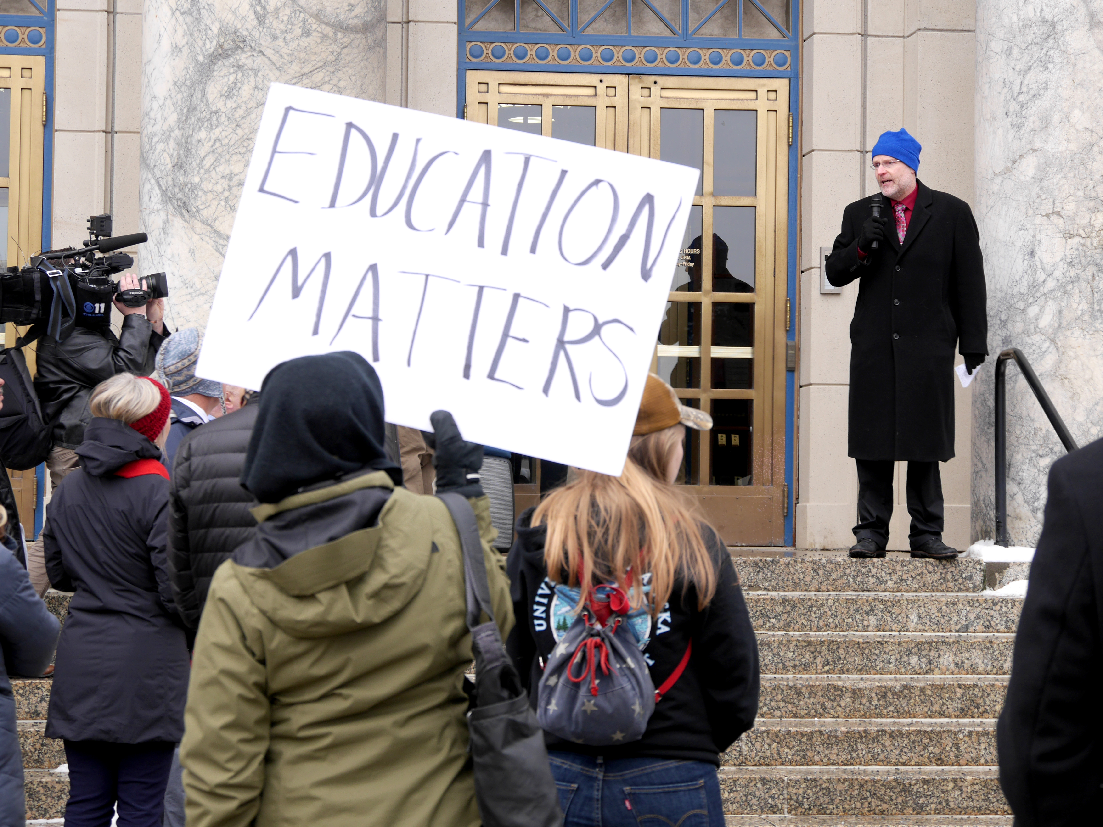 UAF neurobiology and anatomy.Professor Abel Bult-Ito speaks at a rally in front of the Capitol in Juneau on Feb. 13, 2019. About 80 people participated in the rally organized by the University of Alaska to advocate for support of state funding. It was held on the same day Gov. Michael Dunleavy released the latest version of his proposed state budget.