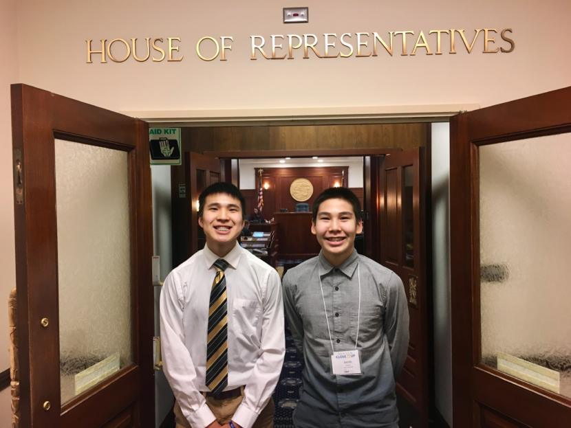 Cameron Mickia Kendrick Andrew (left) and Jacob Michael Andrew in front of House chambers on Feb. 13, 2019. (Photo by Zoe Grueskin/KTOO)