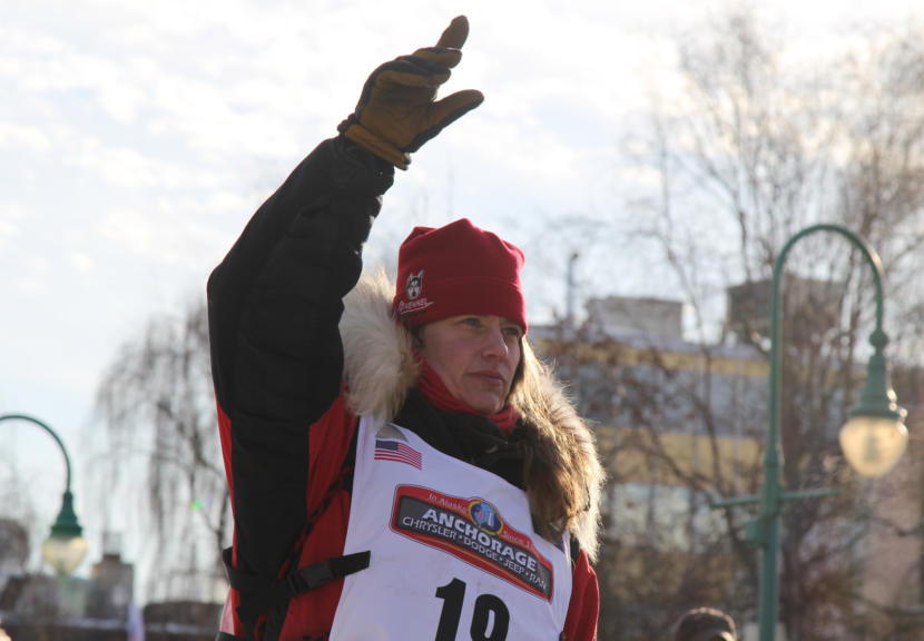 Aliy Zirkle at the ceremonial start of the 2019 Iditarod Trail Sled Dog Race in Anchorage.