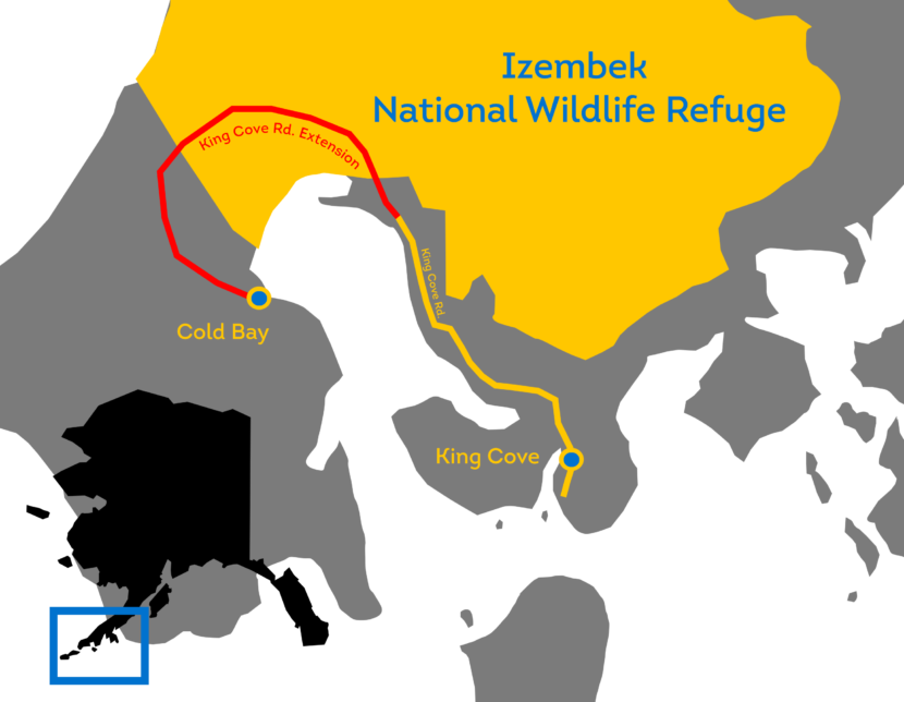 The route of a proposed road from Cold Bay to King Cove.
