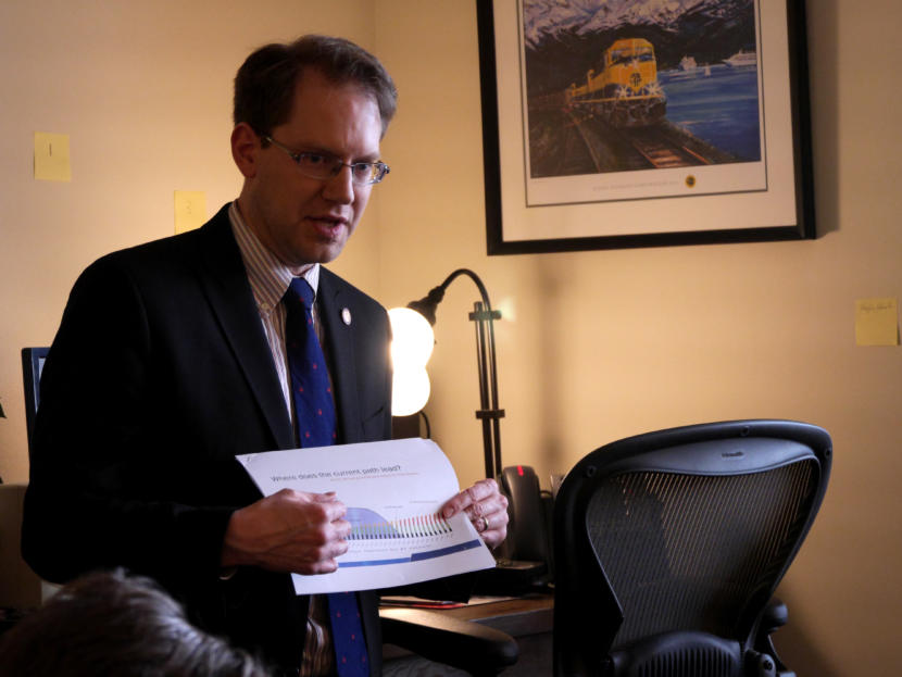 Rep. Lance Pruitt, R-Anchorage, talks to reporters at a House Republican Minority press availability in his office at the Capitol in Juneau on March 14, 2019.