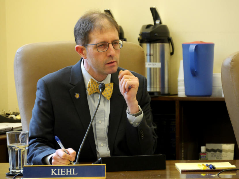 Sen. Jesse Kiehl, D-Juneau, listens during a Senate Judiciary Committee meeting in Juneau on March 22, 2019. Assistant Attorney General William Milks was laying out some details of Senate Bills 23 and 24, which would compensate Alaskans for past cuts to the Alaska Permanent Fund dividend.