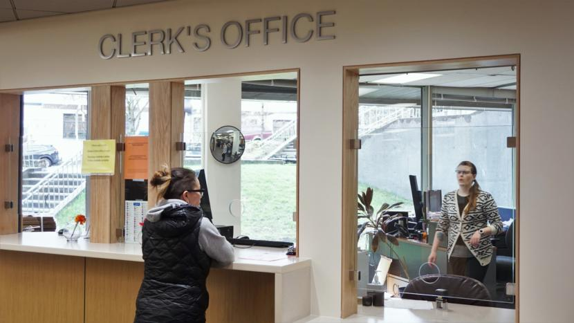 Amanda Beebe-Bay covers the front desk at the clerk's office in the Dimond Courthouse in Juneau on April 22, 2019.