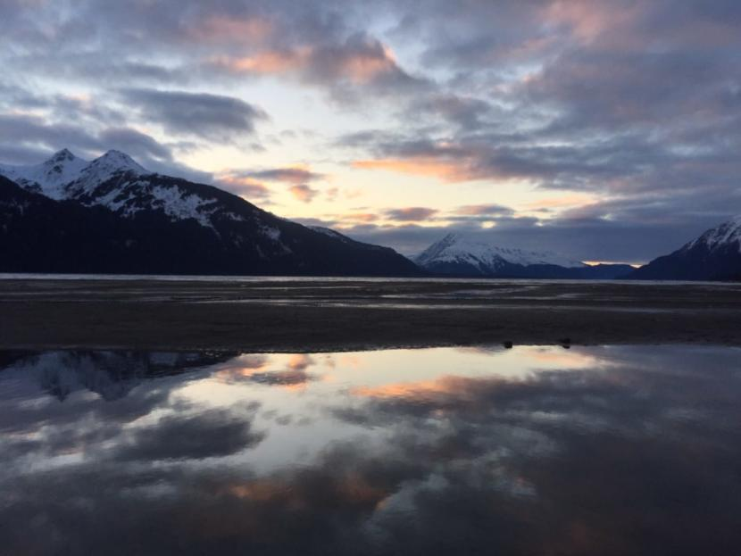 The Chilkat River at sunset.
