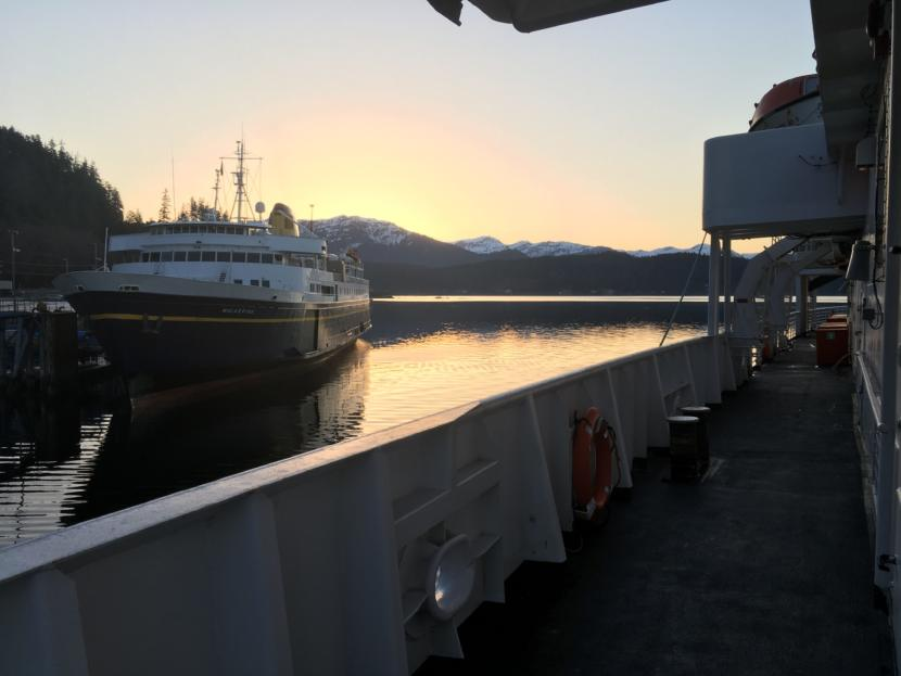 The MV Malaspina sits at the dock in Auke Bay, near Juneau, as the MV LeConte pulls away from the dock early Thursday. Both ships are part of the Alaska Marine Highway System.