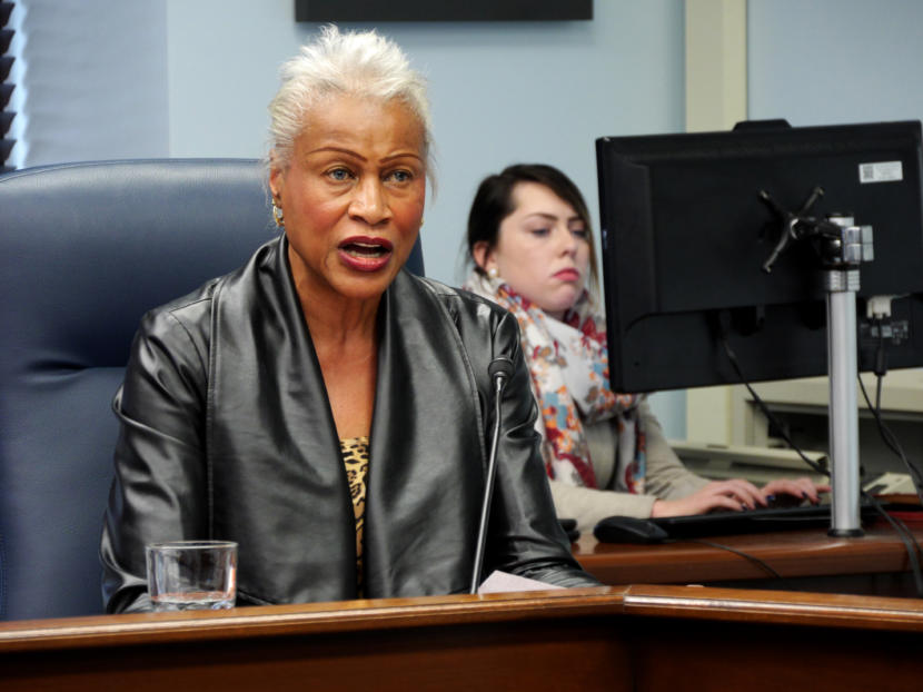 Sen. Elvi Gray-Jackson, D-Anchorage, talks to reporters at a Senate Minority press availability in Juneau on March 11, 2019.