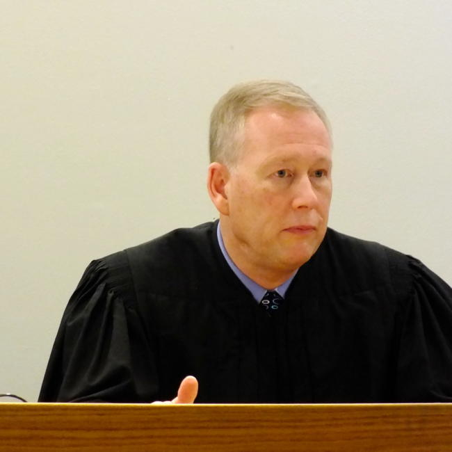 Juneau Superior Court Judge Daniel Schally addresses those who attended his installation ceremony March 29, 2019 at the Dimond Courthouse. (Photo by Matt Miller/KTOO)