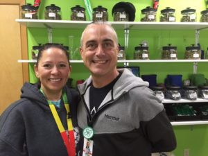 Jason and Shauna Adams in their licensed cannabis retail establishment, Wintergreens, in Haines. (Photo by Claire Stremple/KHNS)