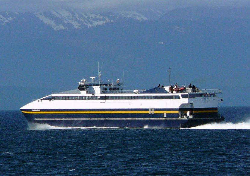 The fast ferry M/V Fairweather steams through Chatham Strait in 2011.