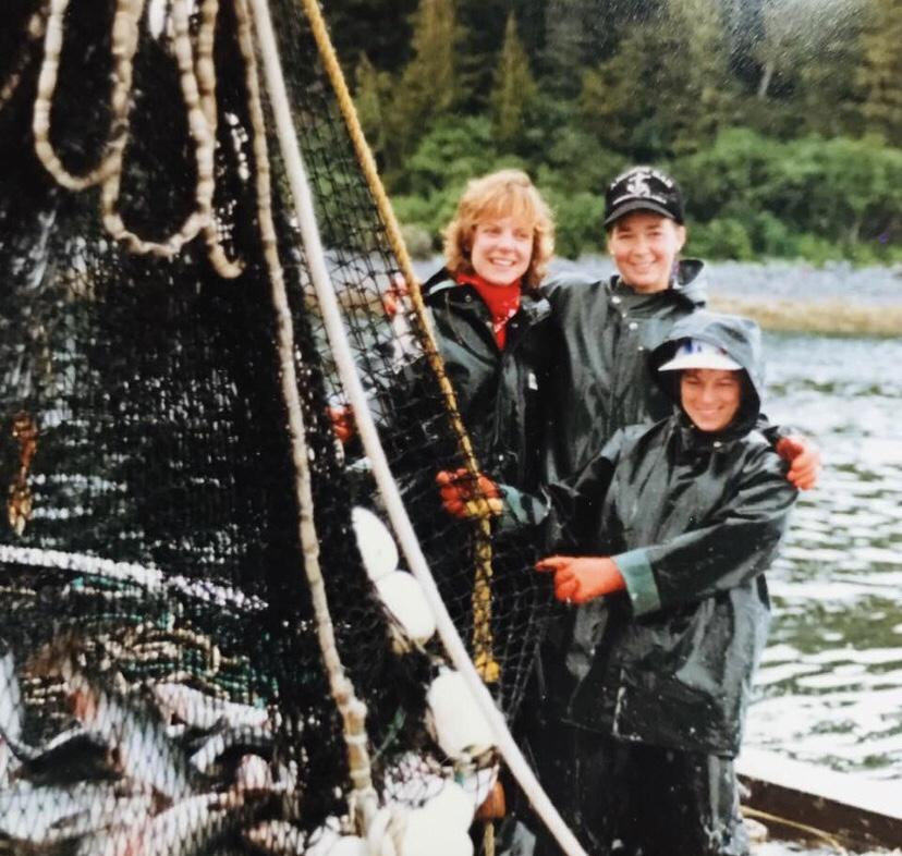 Robin McAllistar and two of her crew members on the deck of FV Valiant Maid during the late-1980s.