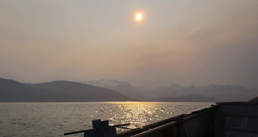 Particulate matter in the air obscures the view of Herbert Glacier from Lynn Canal near Juneau early on the morning of June 30, 2019.
