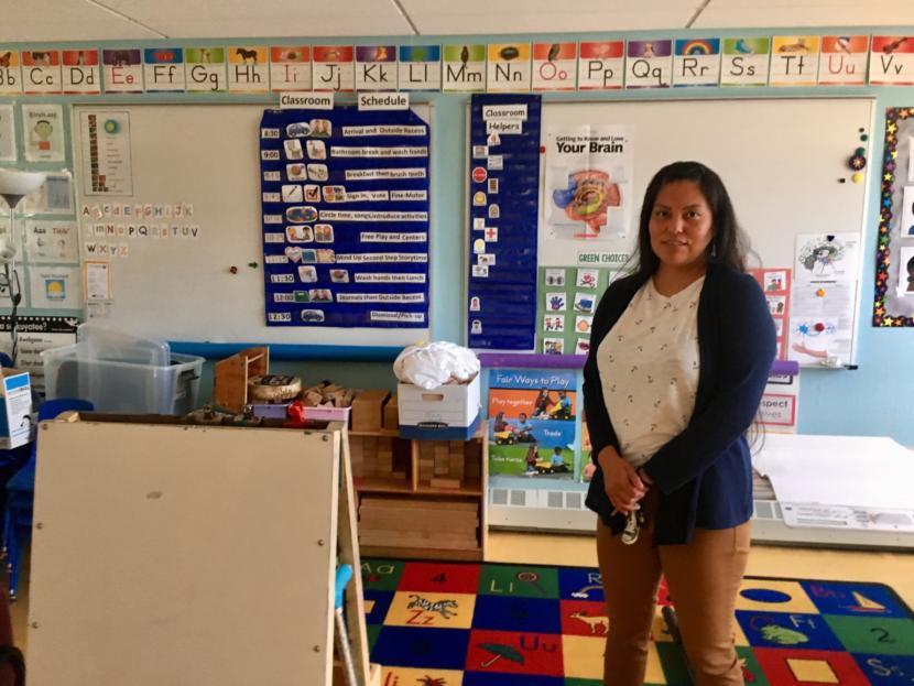 Amber Frommherz, director of Tlingit & Haida's Head Start program, pictured in one of 5 Juneau Head Start classrooms on July 24, 2019. (Photo by Zoe Grueskin/KTOO)