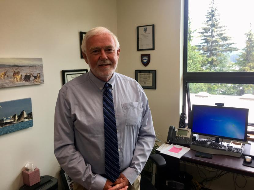 UAS Chancellor Rick Caulfield in his office on July 10, 2019. (Photo by Zoe Grueskin/KTOO)
