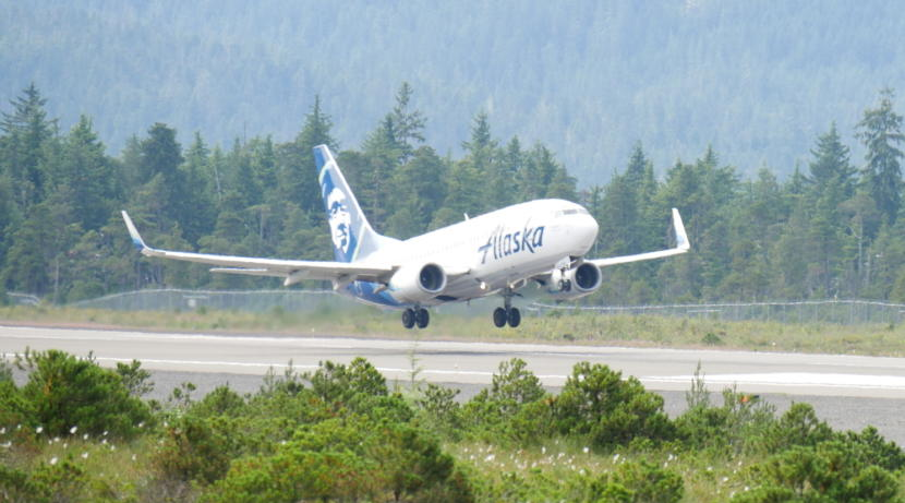 Alaska flight 64 takes off from Petersburg airport in July of 2018. (Joe Viechnicki/KFSK)