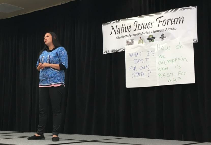 AlexAnna Salmon speaks at the Native Issues Forum held on July 30 at Elizabeth Peratrovich Hall in Juneau. She is the president of the Igiugig Tribal Village Council. (Photo by Andrew Kitchenman/KTOO and Alaska Public Media)