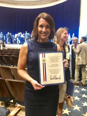 Elizabeth Siddon received the Presidential Early Career Award for Scientists and Engineers in Washington, D.C., on July 25, 2019. (Photo courtesy of Elizabeth Siddon)