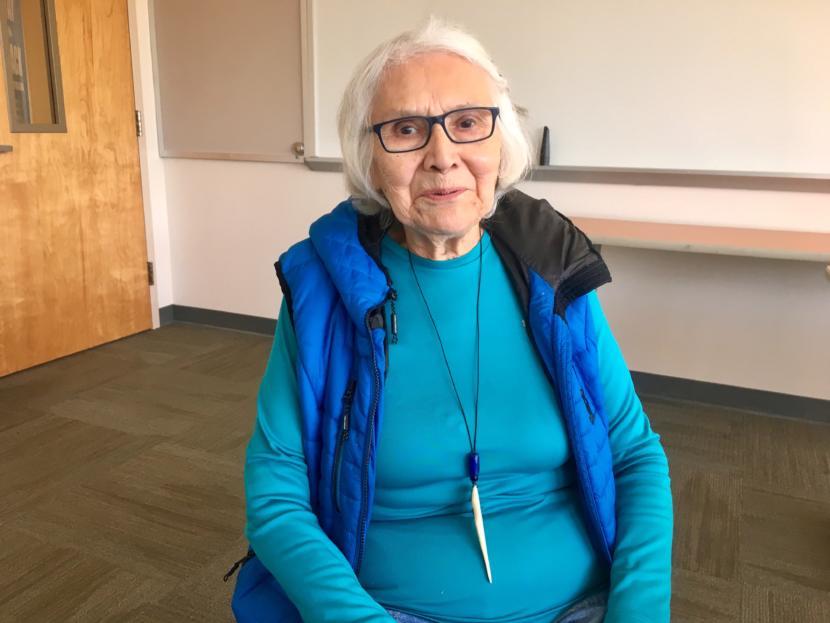 Delores Churchill, master Haida weaver, on Aug. 8, 2019. (Photo by Zoe Grueskin/KTOO)