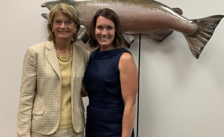 """On her trip to Washington, D.C. in July 2019, Elizabeth Siddon met with Alaska Senator Lisa Murkowski. They talked about Siddon's research on Bering Sea fisheries and climate change. Siddon said the Senator """"was really asking all the right questions and all the questions we're asking ourselves."""" (Photo courtesy of Elizabeth Siddon)"""