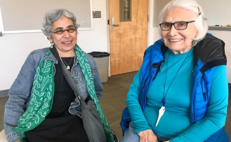 Swapna Mukhopadhyay (left) and Delores Churchill photographed on Aug. 8, 2019, during a Sealaska Heritage Institute seminar for teachers on Northwest Coast arts and math. (Photo by Zoe Grueskin/KTOO)