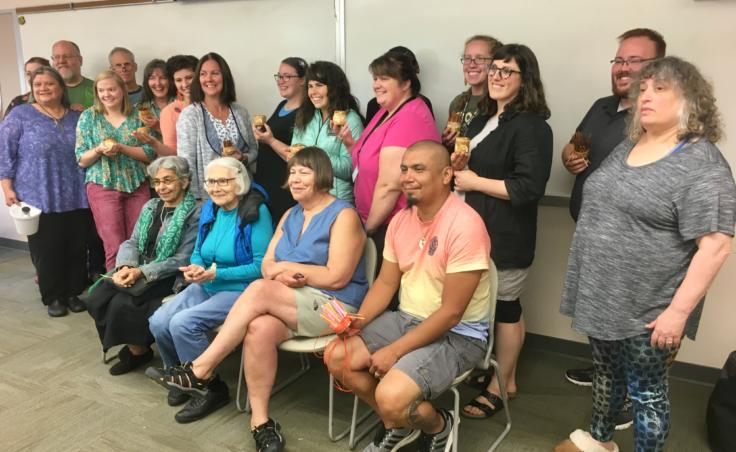 Students and instructors at a Sealaska Heritage Institute seminar for teachers on Northwest Coast arts and math, photographed on Aug. 8, 2019. (Photo by Zoe Grueskin/KTOO)