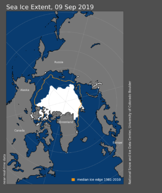 A map showing sea ice extent in 2019 compared to historical averages.