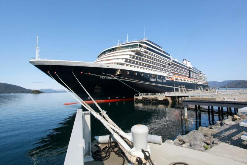 A Holland America cruise ship at the Halibut Point Marine Services dock in Sitka in 2016.