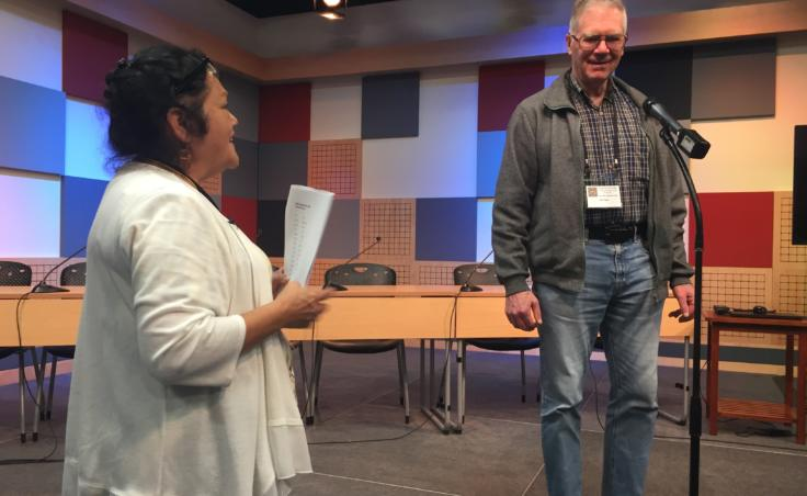 Virginia Oliver (left) gives a word to Bob Fagen during the Contestants in the 4th International Lingít Spelling Bee held in Juneau on Sep. 27, 2019. (Photo by Zoe Grueskin/KTOO)