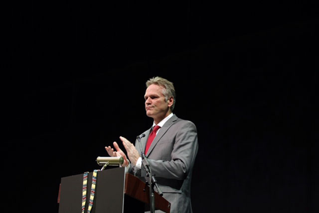 Gov. Mike Dunleavy addresses the 2019 Alaska Federation of Natives convention at the Carlson Center in Fairbanks on Oct. 17, 2019.