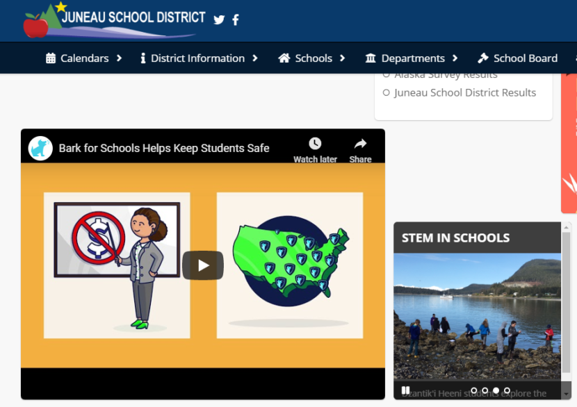 The Juneau School District posted information about Bark for Schools on its homepage, as it appears here on Oct. 31, 2019, including FAQs and an informational video produced by Bark.