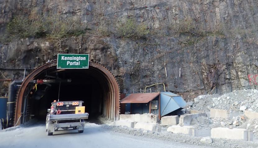 A mine vehicle enters the Kensington Portal on Oct. 15, 2019.