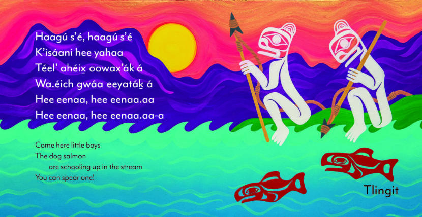 "This is a page from Sealaska Heritage Institute's new trilingual book of lullabies called ""Cradle Songs of Southeast Alaska,"" to be released Dec. 6, 2019. This lullaby is attributed to Ḵaal.átk' Charlie Joseph and adapted by Ed Littlefield, and the illustration is by Crystal Kaakeeyáa Worl."