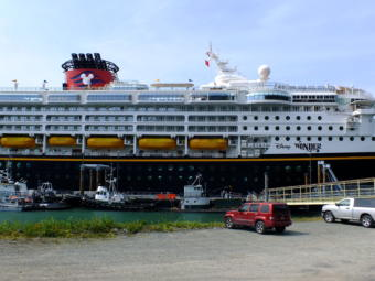 The Disney Wonder cruise ship – and its yellow lifeboats – stopped in Juneau on a regular basis in the summer 2019. (Photo by Matt Miller/KTOO)