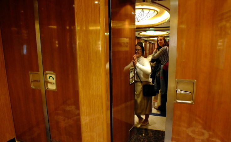 Fire screen doors – like these on the cruise ship Queen Elizabeth – are designed to stay closed to contain a fire, but they can be opened quickly to avoid trapping people. (Photo by Matt Miller/KTOO)