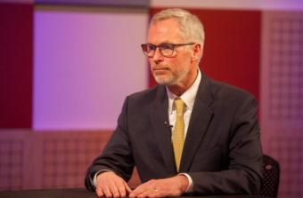 University of Alaska President Jim Johnsen appears on an episode of Forum@360 in Juneau on April 3, 2018.