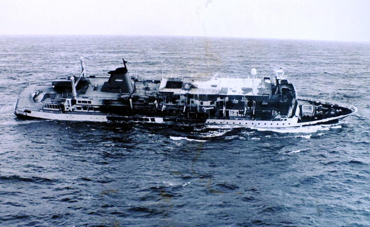 The Prisendam lists and is adrift in the middle of the Gulf of Alaska in October 1980. Passengers and crew evacuated the vessel after a fire crippled the Holland America cruise ship. (Photo courtesy of U.S. Coast Guard)