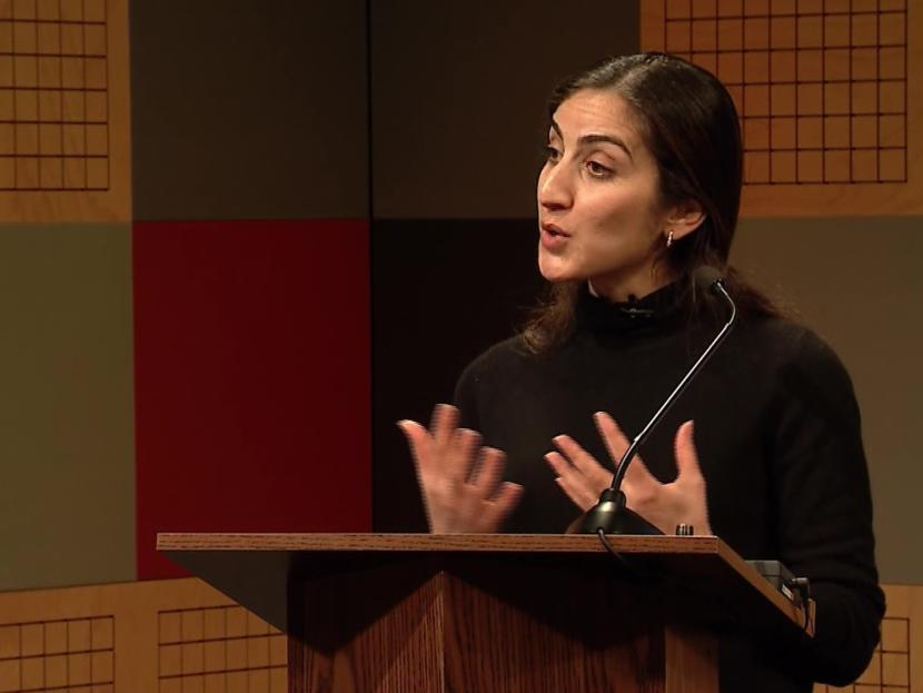 Reem Yusuf, an environmental policy adviser in the United Kingdom's Foreign and Commonwealth Office in San Francisco, speaks to the Juneau World Affair Council at KTOO in Juneau on Feb. 28, 2019. She was discussing the UK's long-term plan to transition to a low-carbon economy.