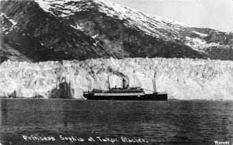 Princess Sophia at Taku Glacier sometime before October 1918. (P289-137 Alaska State Library - Sadlier/Olsen Family Collection)