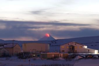 Shishaldin Volcano in eruption.