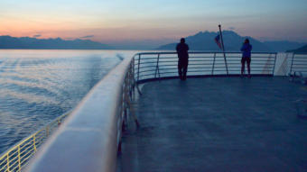 Alaska Marine Highway System ferry Malaspina plies the waters of Lynn Canal in route from Haines to Juneau in Southeast Alaska, August 14, 2012. Lion's Head Mt. and Berners Bay are in the background, right. (Photo by Kelli Berkinshaw/KTOO)