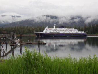 The Alaska Marine Highway System ferry Columbia passes through Wrangell Narrows headed south from Petersburg in Southeast Alaska, June 15. 2012. (Photo by Skip Gray/KTOO)