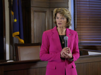 U.S. Sen. Lisa Murkowski, R-Alaska, talks to reporters in the Alaska Capitol in Juneau after her annual address to the Legislature on Feb. 18, 2020.