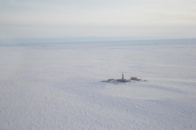 An aerial view of one of the exploration pads and wells that ConocoPhillips drilled during the 2018 exploration season at its Willow prospect. (Judy Patrick Photography / ConocoPhillips Alaska)